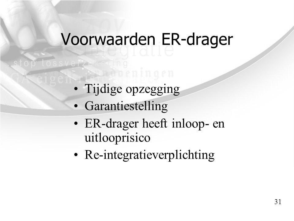 Voorwaarden ER-drager •Tijdige opzegging •Garantiestelling •ER-drager heeft inloop- en uitlooprisico •Re-integratieverplichting 31