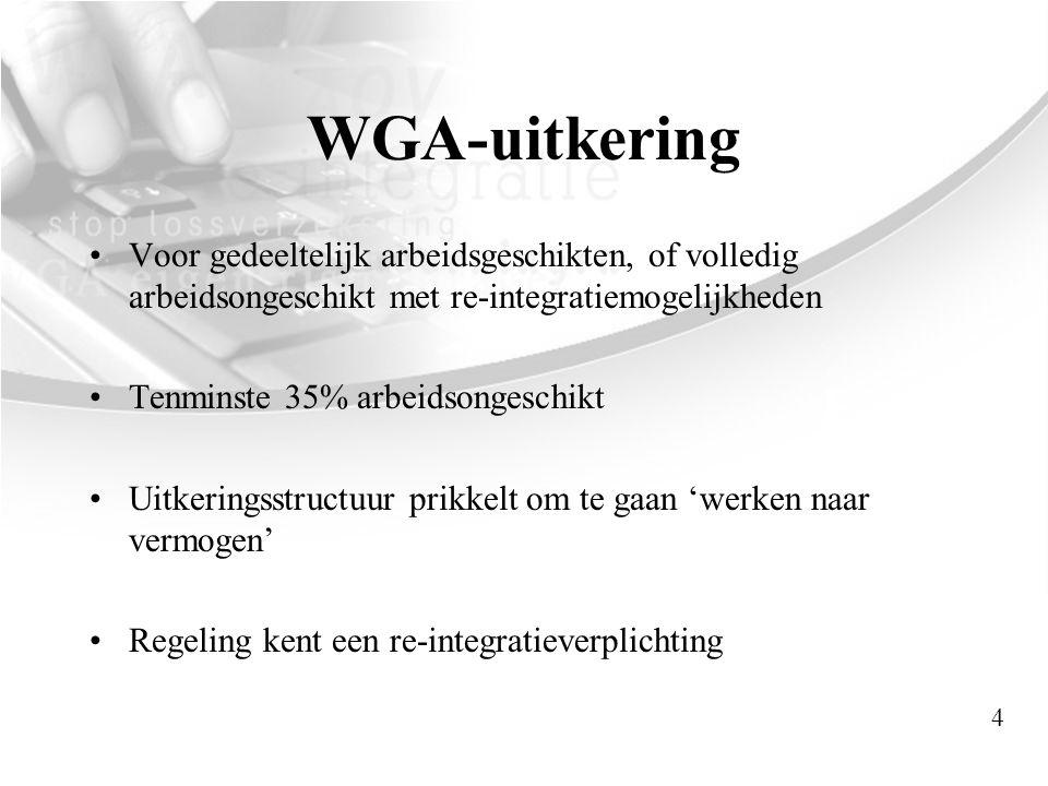 WGA-uitkering •Voor gedeeltelijk arbeidsgeschikten, of volledig arbeidsongeschikt met re-integratiemogelijkheden •Tenminste 35% arbeidsongeschikt •Uit