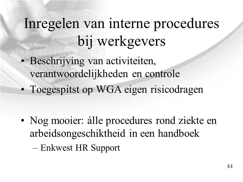 Inregelen van interne procedures bij werkgevers •Beschrijving van activiteiten, verantwoordelijkheden en controle •Toegespitst op WGA eigen risicodrag