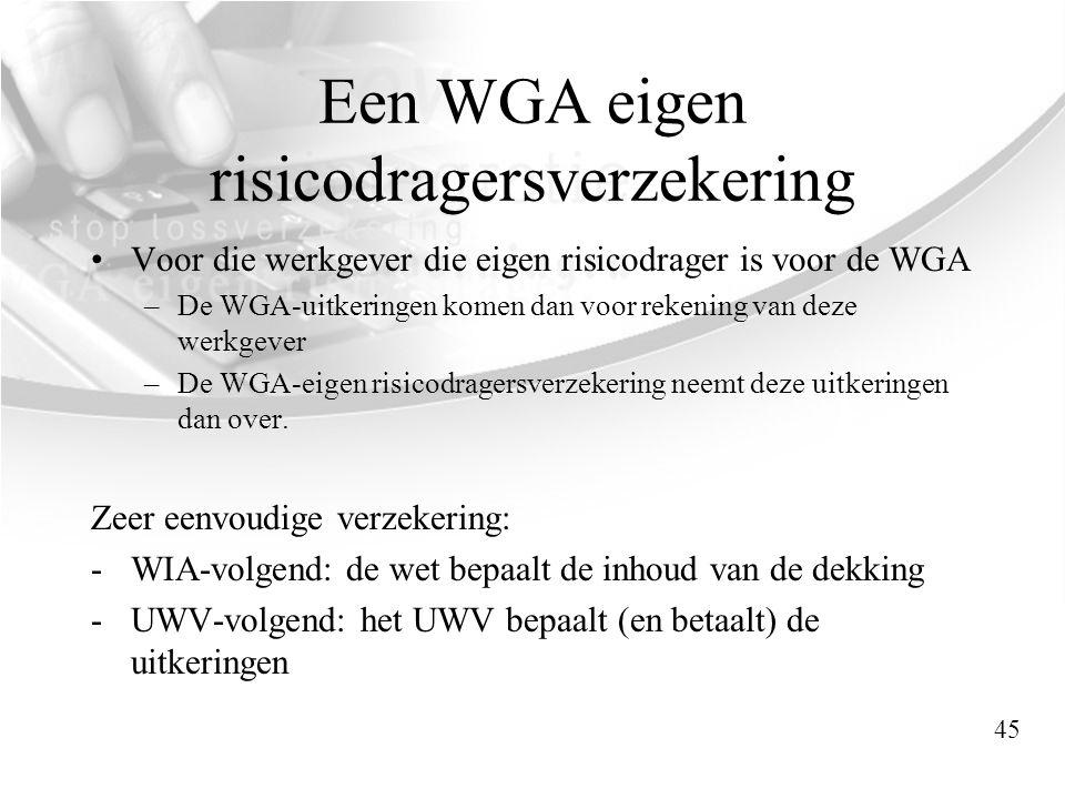 Een WGA eigen risicodragersverzekering •Voor die werkgever die eigen risicodrager is voor de WGA –De WGA-uitkeringen komen dan voor rekening van deze