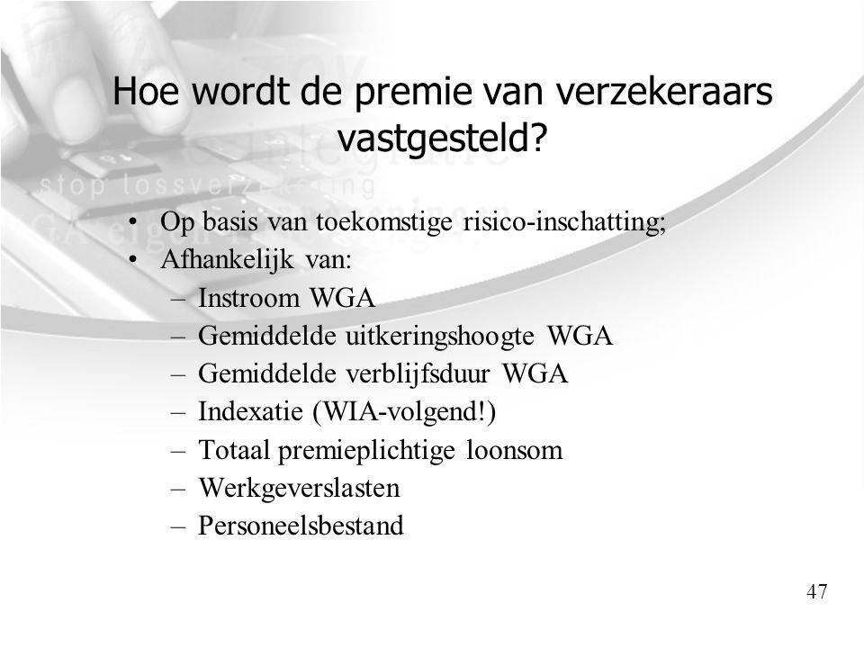 Hoe wordt de premie van verzekeraars vastgesteld? •Op basis van toekomstige risico-inschatting; •Afhankelijk van: –Instroom WGA –Gemiddelde uitkerings