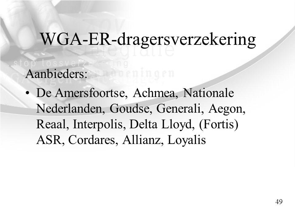 WGA-ER-dragersverzekering Aanbieders: •De Amersfoortse, Achmea, Nationale Nederlanden, Goudse, Generali, Aegon, Reaal, Interpolis, Delta Lloyd, (Forti