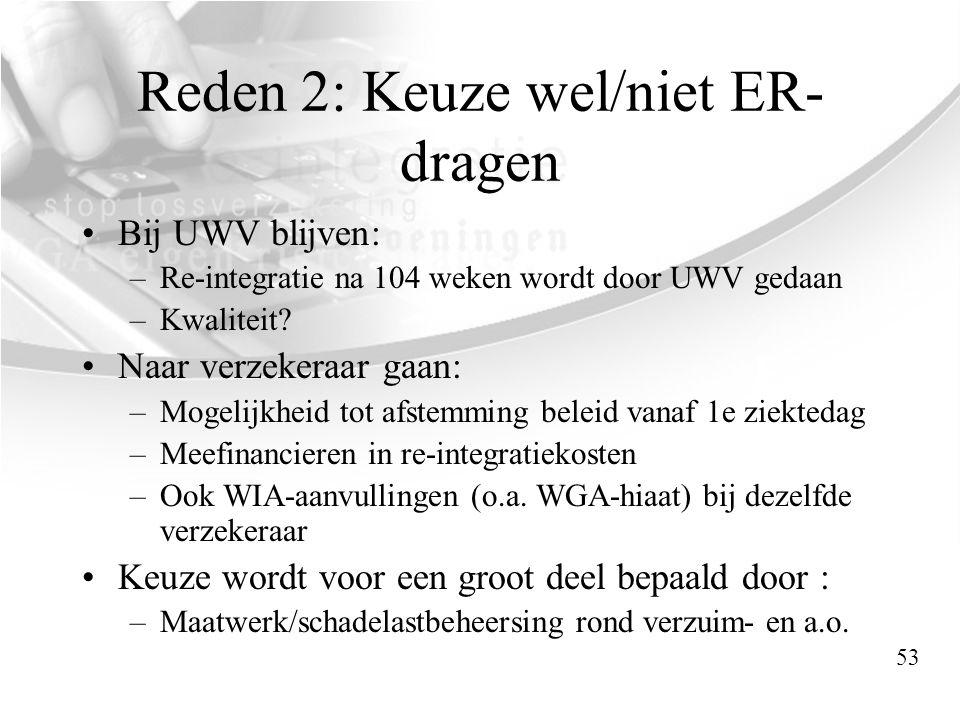 Reden 2: Keuze wel/niet ER- dragen •Bij UWV blijven: –Re-integratie na 104 weken wordt door UWV gedaan –Kwaliteit? •Naar verzekeraar gaan: –Mogelijkhe