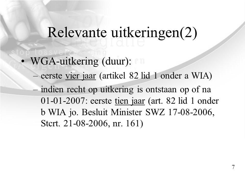 Relevante uitkeringen(2) •WGA-uitkering (duur): –eerste vier jaar (artikel 82 lid 1 onder a WIA) –indien recht op uitkering is ontstaan op of na 01-01