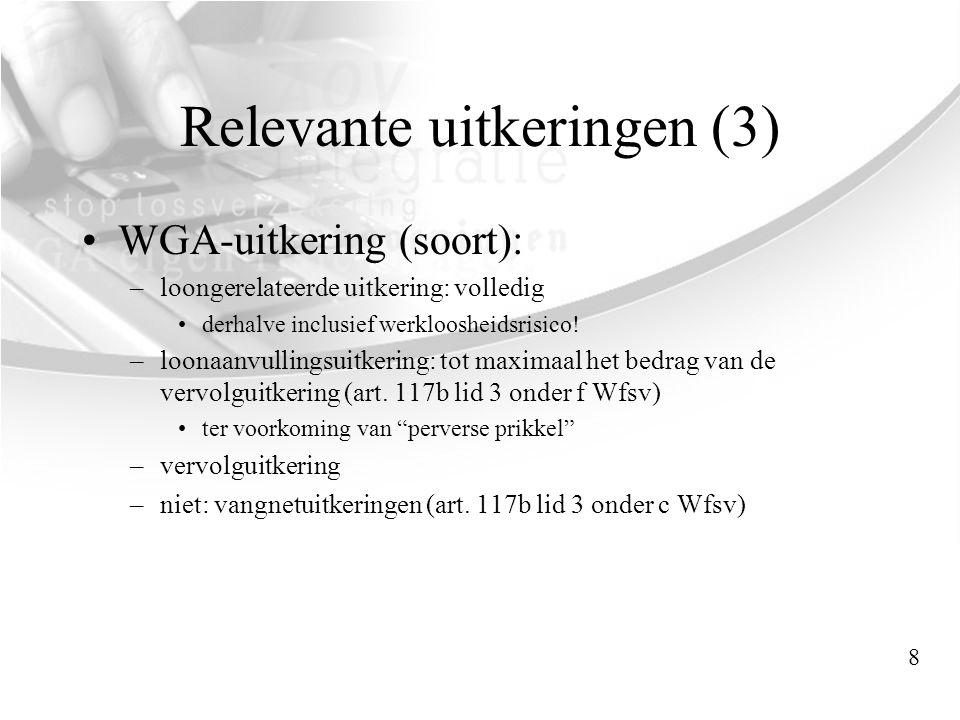 Relevante uitkeringen (3) •WGA-uitkering (soort): –loongerelateerde uitkering: volledig •derhalve inclusief werkloosheidsrisico! –loonaanvullingsuitke