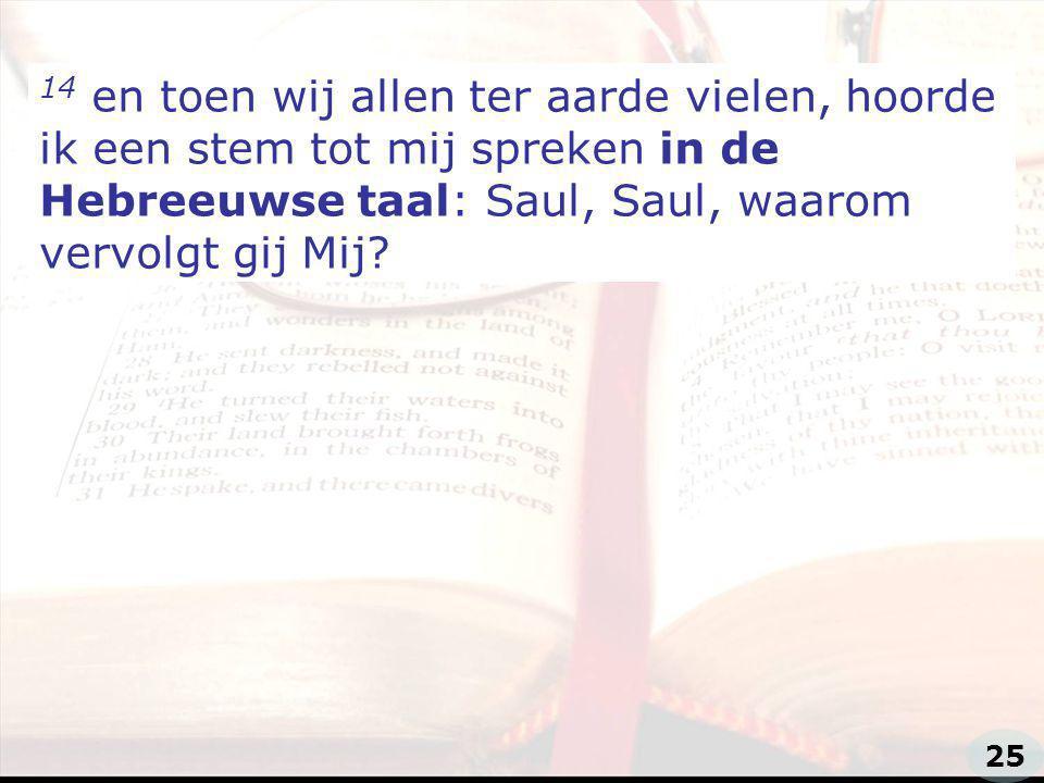 zzz 14 en toen wij allen ter aarde vielen, hoorde ik een stem tot mij spreken in de Hebreeuwse taal: Saul, Saul, waarom vervolgt gij Mij.