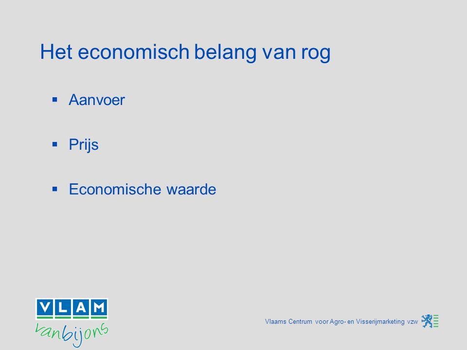 Vlaams Centrum voor Agro- en Visserijmarketing vzw Het economisch belang van rog  Aanvoer  Prijs  Economische waarde