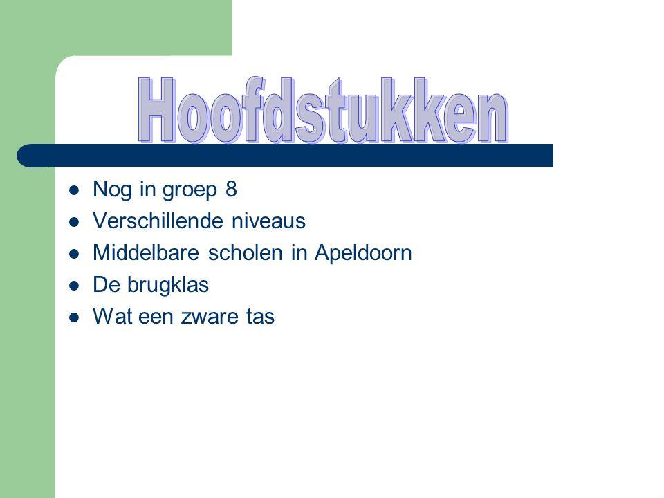  Nog in groep 8  Verschillende niveaus  Middelbare scholen in Apeldoorn  De brugklas  Wat een zware tas