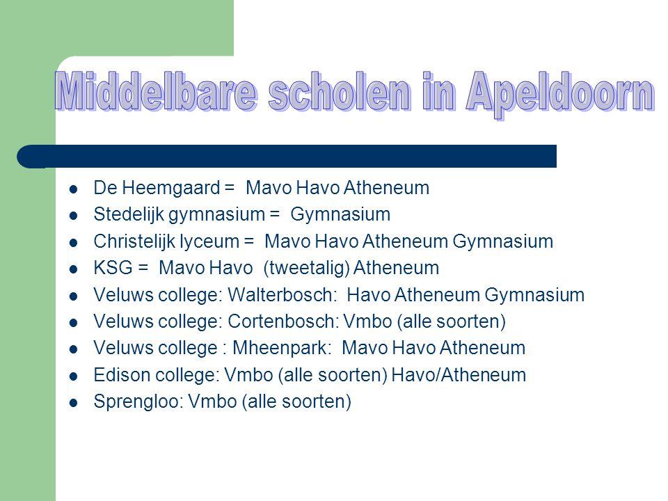 De Heemgaard = Mavo Havo Atheneum  Stedelijk gymnasium = Gymnasium  Christelijk lyceum = Mavo Havo Atheneum Gymnasium  KSG = Mavo Havo (tweetalig