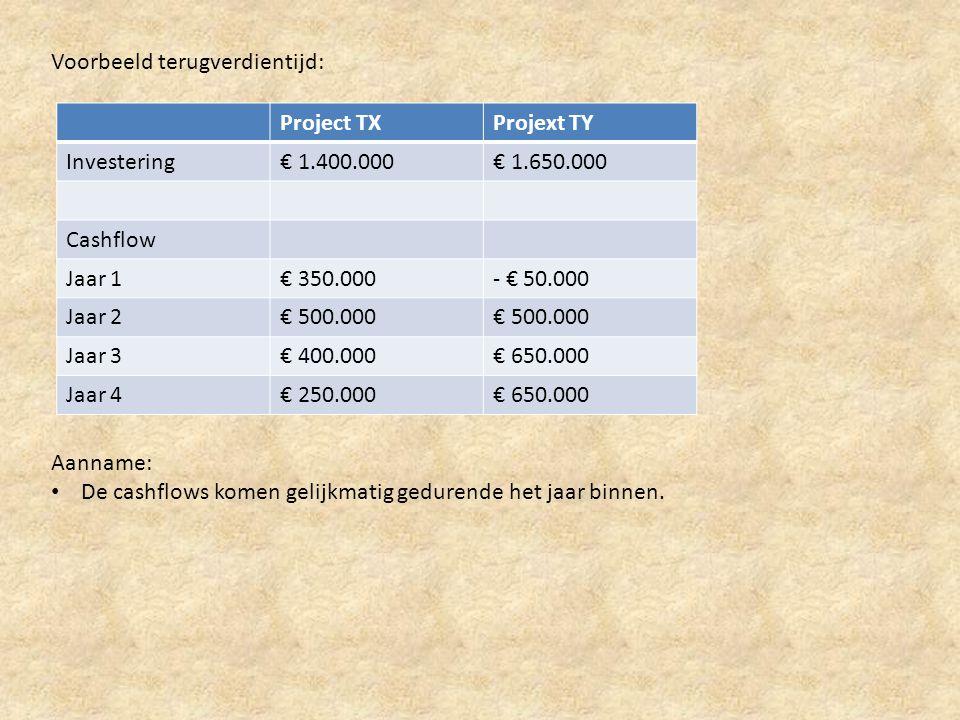 Voorbeeld terugverdientijd: Project TXProjext TY Investering€ 1.400.000€ 1.650.000 Cashflow Jaar 1€ 350.000- € 50.000 Jaar 2€ 500.000 Jaar 3€ 400.000€ 650.000 Jaar 4€ 250.000€ 650.000 Aanname: • De cashflows komen gelijkmatig gedurende het jaar binnen.