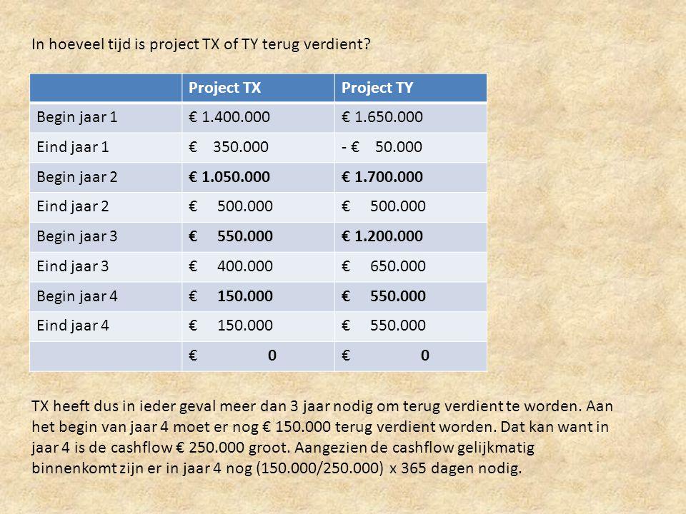 In hoeveel tijd is project TX of TY terug verdient? Project TXProject TY Begin jaar 1€ 1.400.000€ 1.650.000 Eind jaar 1€ 350.000- € 50.000 Begin jaar