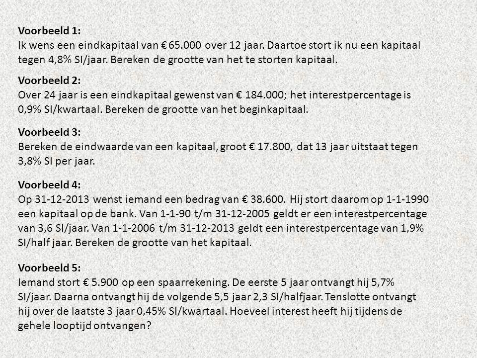Voorbeeld 1: Ik wens een eindkapitaal van € 65.000 over 12 jaar. Daartoe stort ik nu een kapitaal tegen 4,8% SI/jaar. Bereken de grootte van het te st