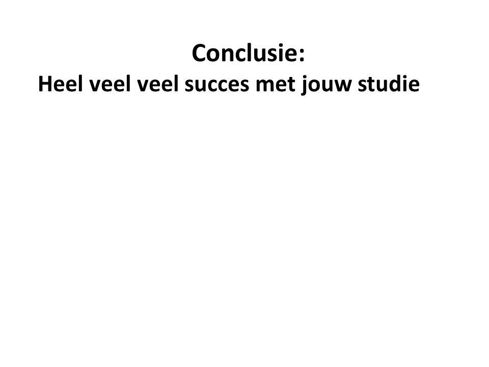 Conclusie: Heel veel veel succes met jouw studie