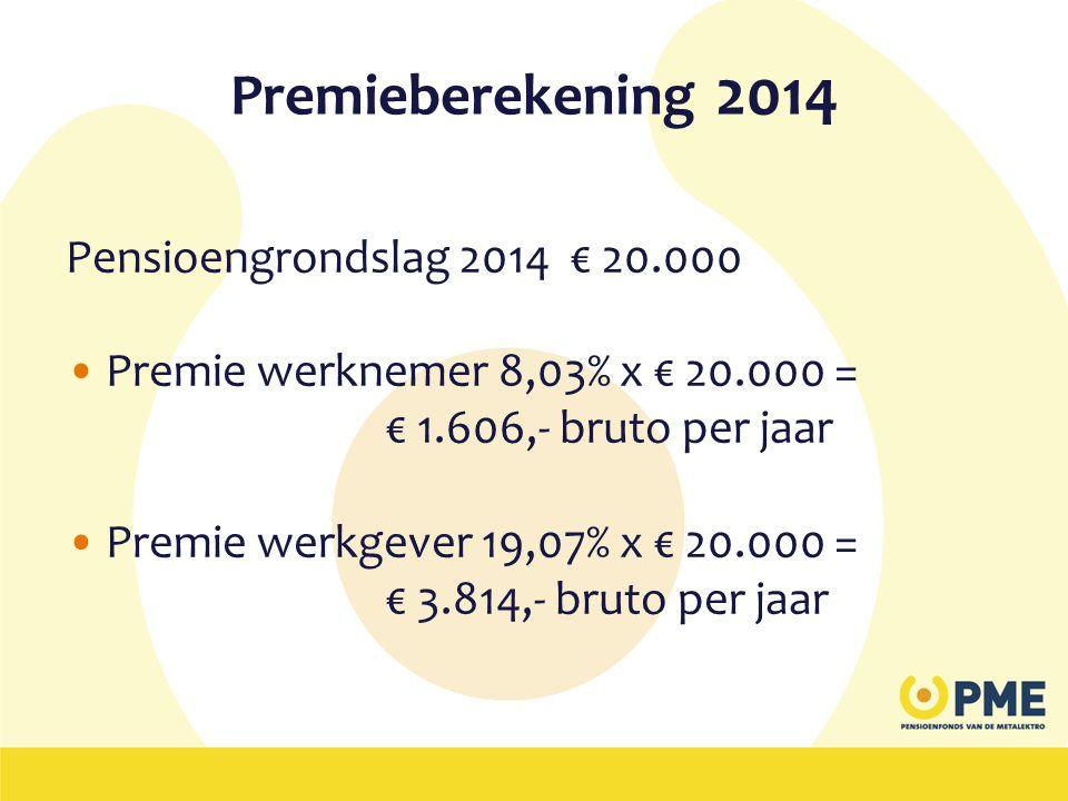 Premieberekening 2014 Pensioengrondslag 2014 € 20.000 •Premie werknemer 8,03% x € 20.000 = € 1.606,- bruto per jaar •Premie werkgever 19,07% x € 20.00