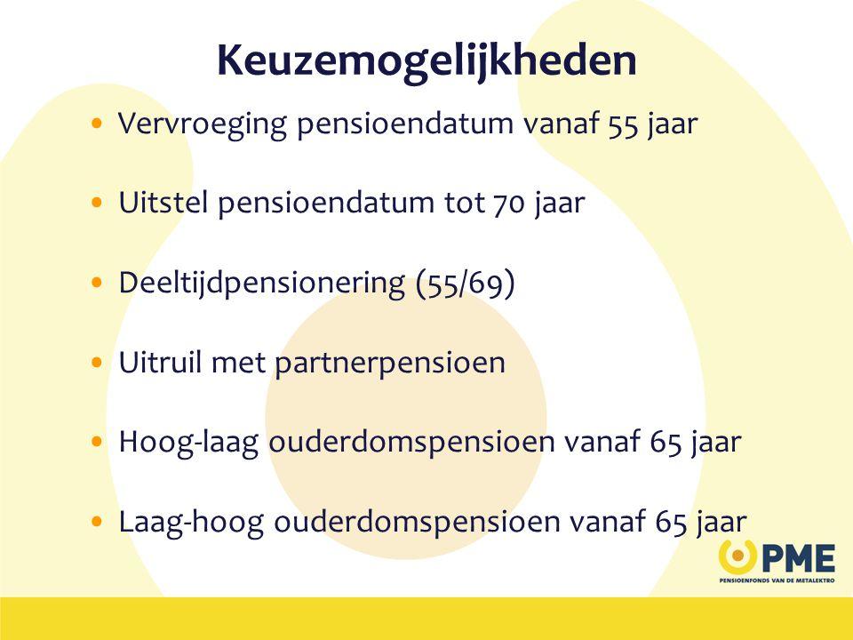 Keuzemogelijkheden •Vervroeging pensioendatum vanaf 55 jaar •Uitstel pensioendatum tot 70 jaar •Deeltijdpensionering (55/69) •Uitruil met partnerpensi