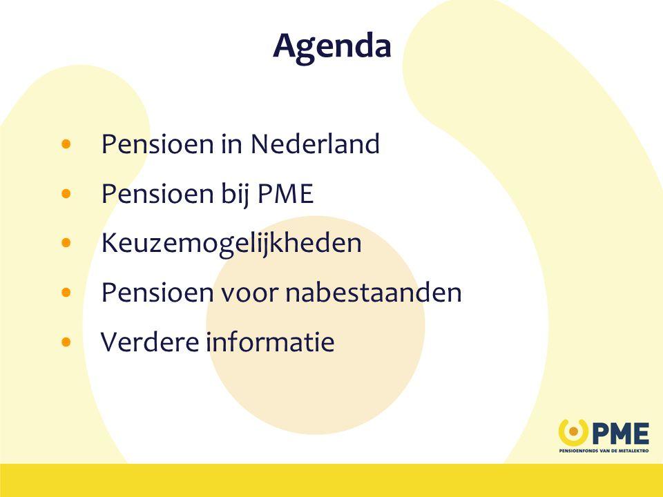 Agenda •Pensioen in Nederland •Pensioen bij PME •Keuzemogelijkheden •Pensioen voor nabestaanden •Verdere informatie