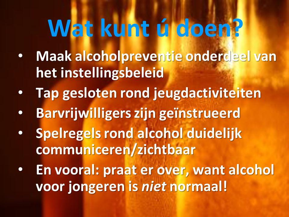 Wat kunt ú doen? • Maak alcoholpreventie onderdeel van het instellingsbeleid • Tap gesloten rond jeugdactiviteiten • Barvrijwilligers zijn geïnstrueer