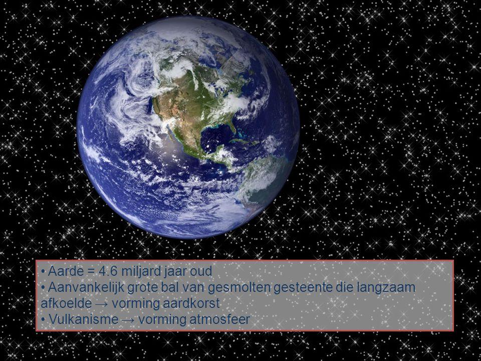 • Aarde = 4.6 miljard jaar oud • Aanvankelijk grote bal van gesmolten gesteente die langzaam afkoelde → vorming aardkorst • Vulkanisme → vorming atmosfeer