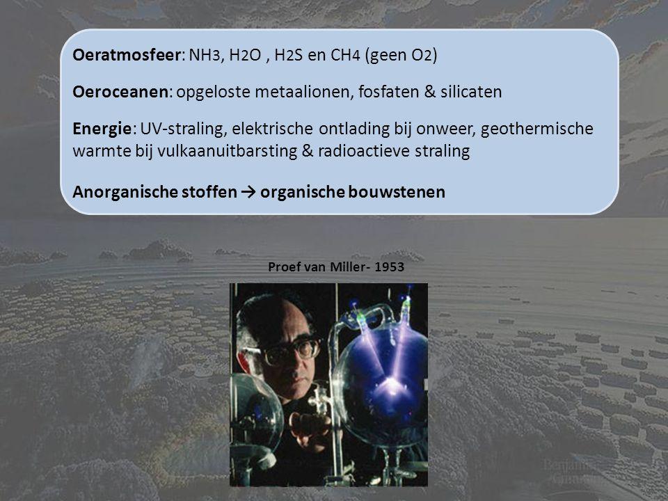 Oeratmosfeer: NH 3, H 2 O, H 2 S en CH 4 (geen O 2 ) Oeroceanen: opgeloste metaalionen, fosfaten & silicaten Energie: UV-straling, elektrische ontlading bij onweer, geothermische warmte bij vulkaanuitbarsting & radioactieve straling Anorganische stoffen → organische bouwstenen Proef van Miller- 1953