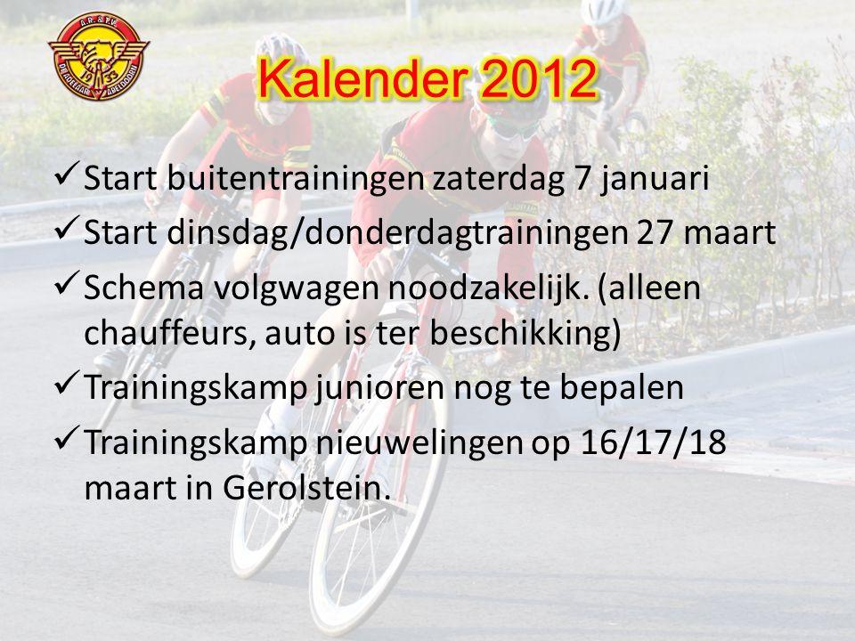  Start buitentrainingen zaterdag 7 januari  Start dinsdag/donderdagtrainingen 27 maart  Schema volgwagen noodzakelijk.