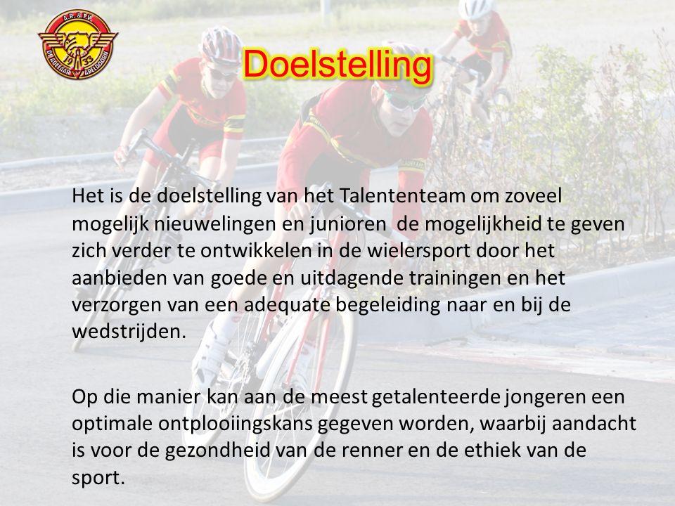 Het is de doelstelling van het Talententeam om zoveel mogelijk nieuwelingen en junioren de mogelijkheid te geven zich verder te ontwikkelen in de wielersport door het aanbieden van goede en uitdagende trainingen en het verzorgen van een adequate begeleiding naar en bij de wedstrijden.