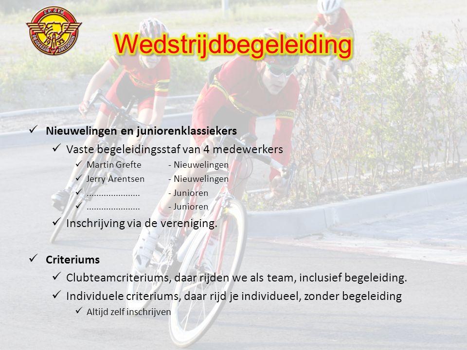  Nieuwelingen en juniorenklassiekers  Vaste begeleidingsstaf van 4 medewerkers  Martin Grefte - Nieuwelingen  Jerry Arentsen - Nieuwelingen ......................