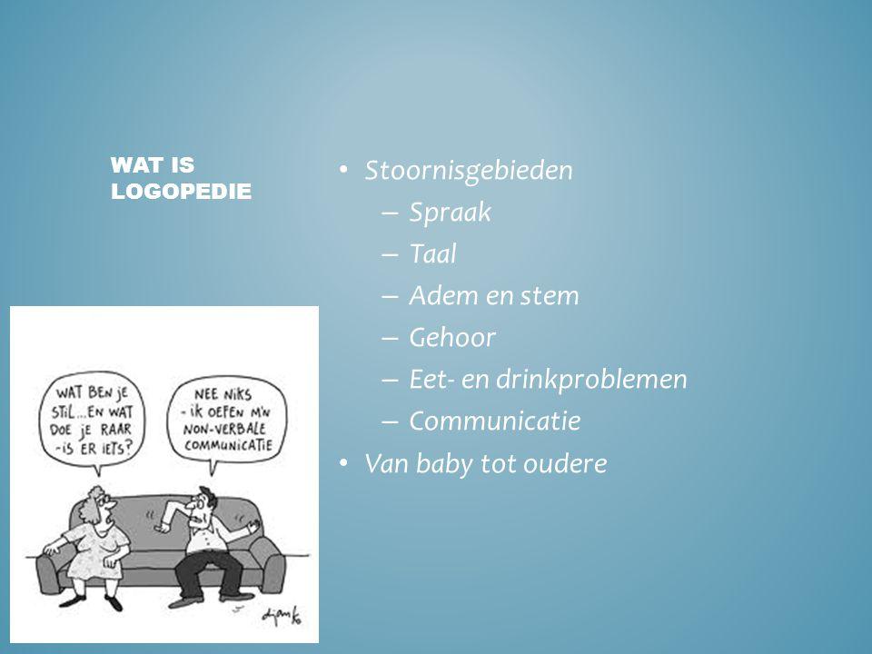• Stoornisgebieden – Spraak – Taal – Adem en stem – Gehoor – Eet- en drinkproblemen – Communicatie • Van baby tot oudere WAT IS LOGOPEDIE