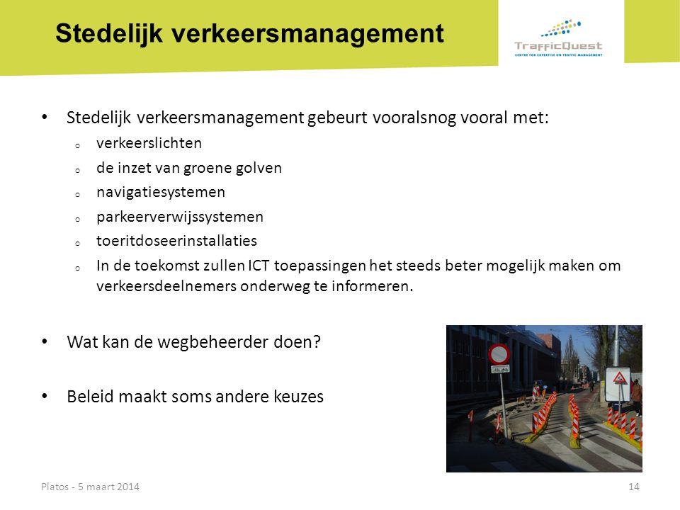 Stedelijk verkeersmanagement • Stedelijk verkeersmanagement gebeurt vooralsnog vooral met: o verkeerslichten o de inzet van groene golven o navigaties