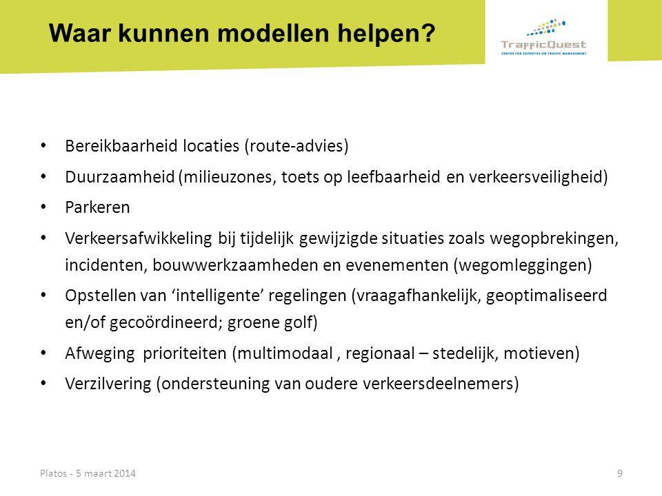 Waar kunnen modellen helpen? • Bereikbaarheid locaties (route-advies) • Duurzaamheid (milieuzones, toets op leefbaarheid en verkeersveiligheid) • Park