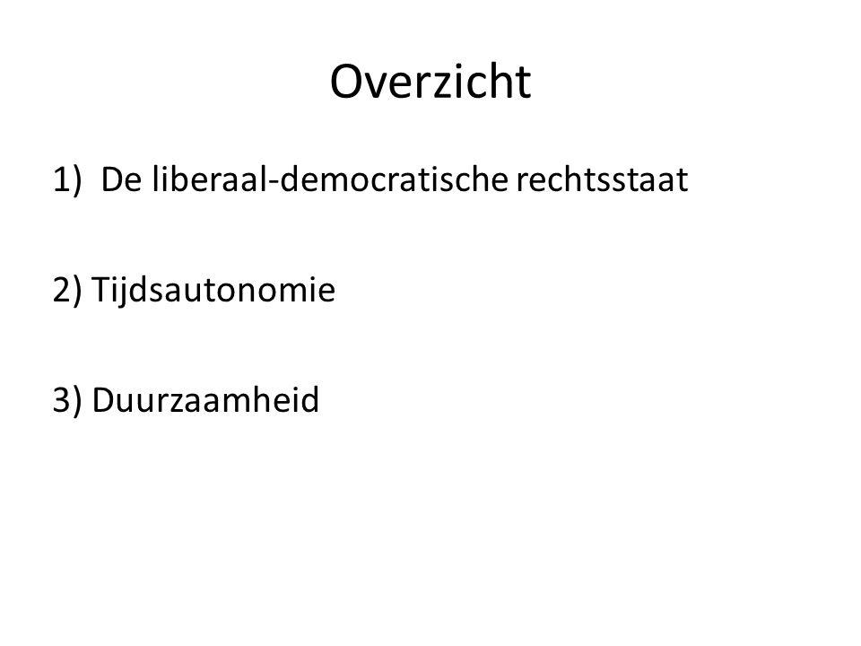 Overzicht 1)De liberaal-democratische rechtsstaat 2) Tijdsautonomie 3) Duurzaamheid