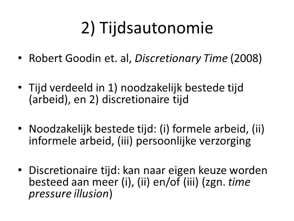 2) Tijdsautonomie • Robert Goodin et. al, Discretionary Time (2008) • Tijd verdeeld in 1) noodzakelijk bestede tijd (arbeid), en 2) discretionaire tij