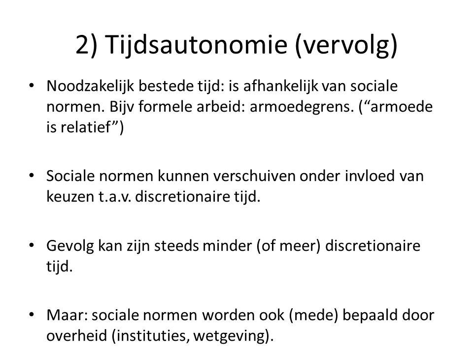 2) Tijdsautonomie (slot) Conclusie 1: Bandbreedte gewenst, tussen: A) Minimum aan discretionaire tijd (maximum aan arbeid) B) Minimum aan arbeid (maximum aan discretionaire tijd) Conclusie 2: Daarbinnen: welke normen te kiezen.