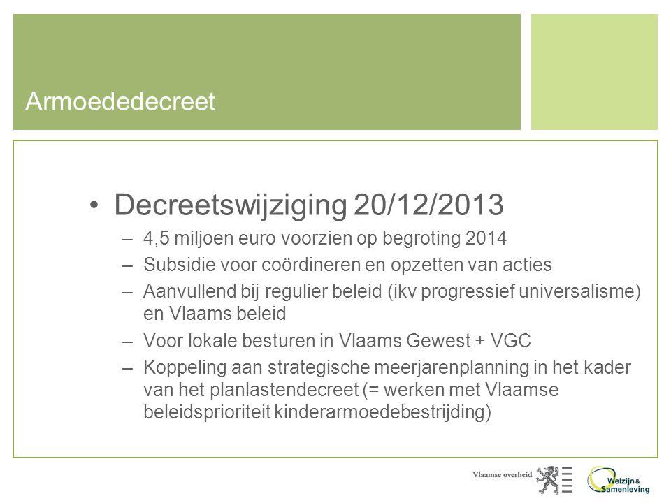 Armoededecreet •Decreetswijziging 20/12/2013 –4,5 miljoen euro voorzien op begroting 2014 –Subsidie voor coördineren en opzetten van acties –Aanvullen