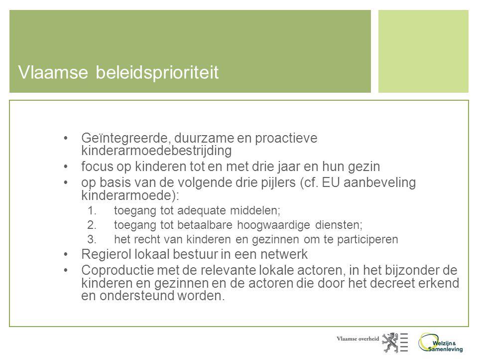 Vlaamse beleidsprioriteit •Geïntegreerde, duurzame en proactieve kinderarmoedebestrijding •focus op kinderen tot en met drie jaar en hun gezin •op bas