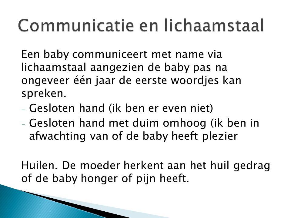 Een baby communiceert met name via lichaamstaal aangezien de baby pas na ongeveer één jaar de eerste woordjes kan spreken. - Gesloten hand (ik ben er