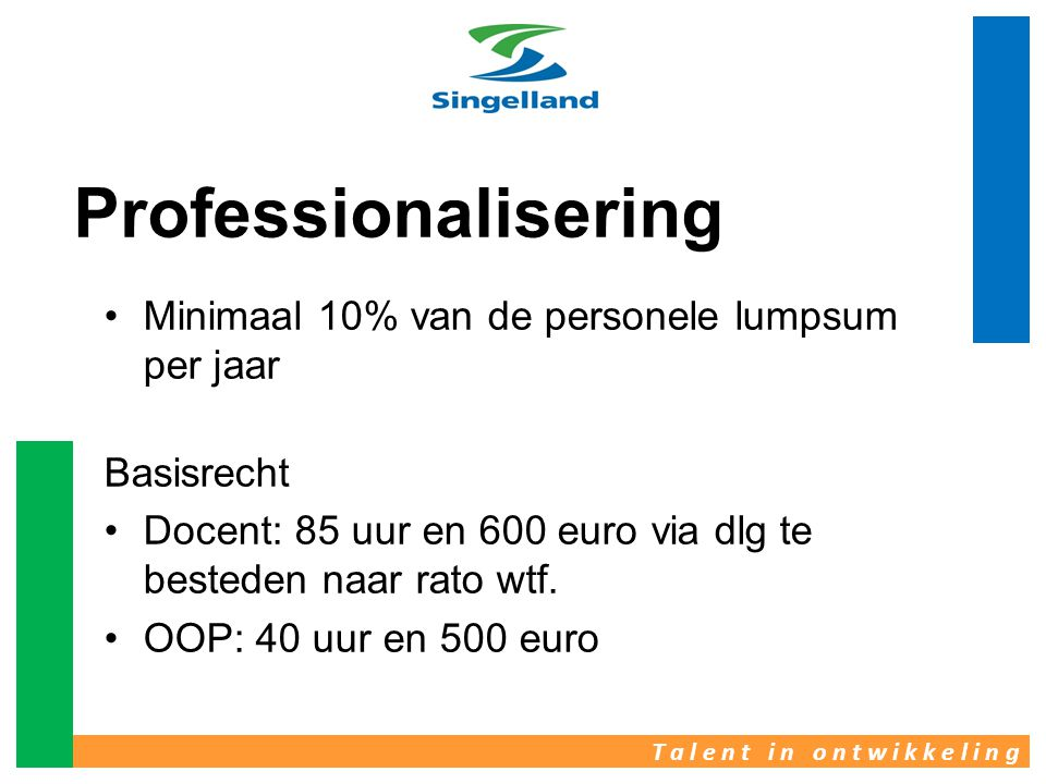 •Minimaal 10% van de personele lumpsum per jaar Basisrecht •Docent: 85 uur en 600 euro via dlg te besteden naar rato wtf. •OOP: 40 uur en 500 euro Pro