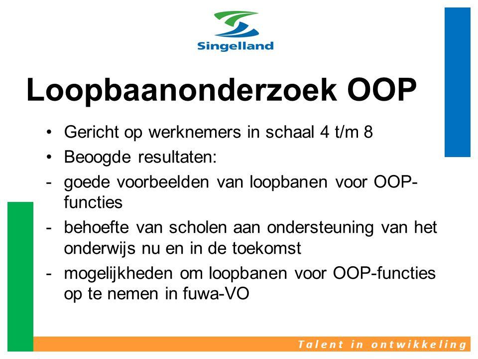 T a l e n t i n o n t w i k k e l i n g Loopbaanonderzoek OOP •Gericht op werknemers in schaal 4 t/m 8 •Beoogde resultaten: -goede voorbeelden van loo