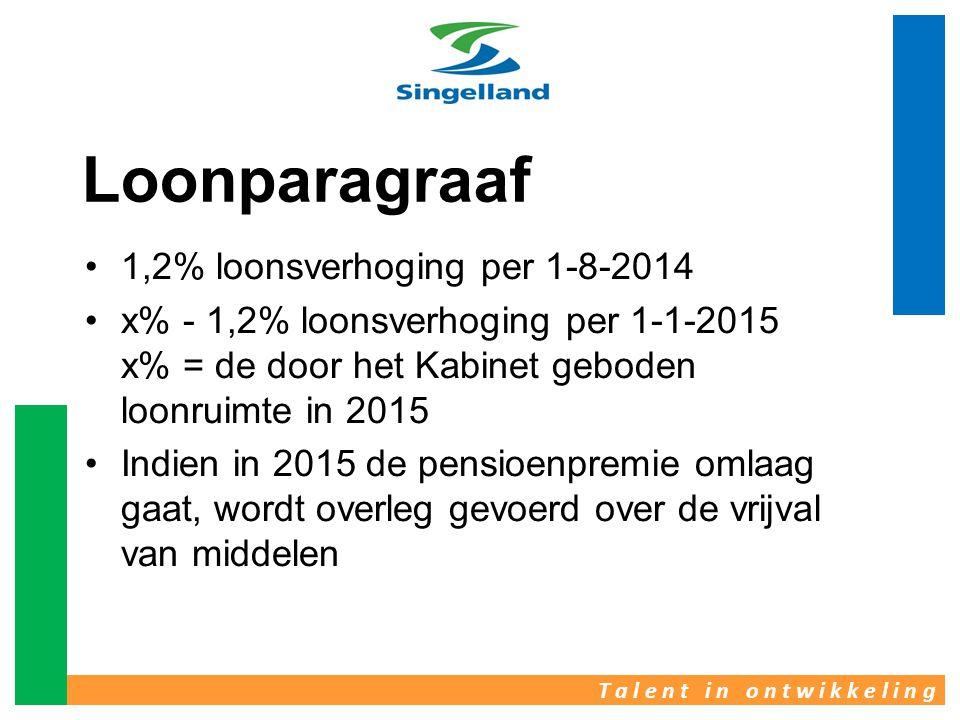 T a l e n t i n o n t w i k k e l i n g Loonparagraaf •1,2% loonsverhoging per 1-8-2014 •x% - 1,2% loonsverhoging per 1-1-2015 x% = de door het Kabine
