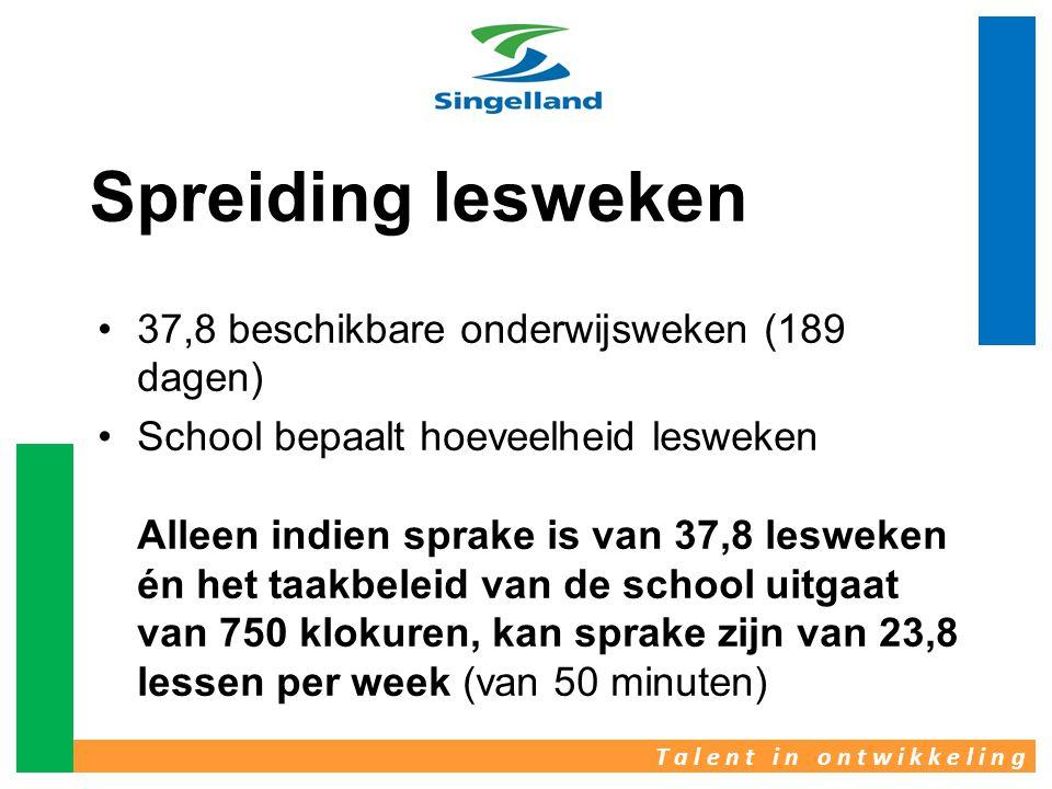 T a l e n t i n o n t w i k k e l i n g Spreiding lesweken •37,8 beschikbare onderwijsweken (189 dagen) •School bepaalt hoeveelheid lesweken Alleen in
