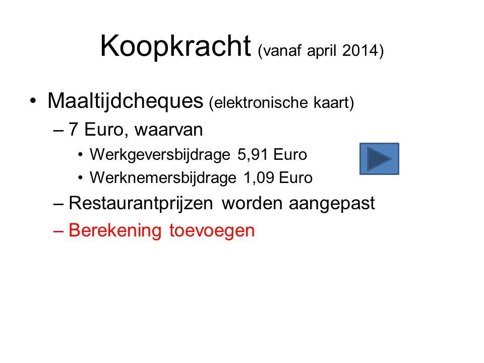 Koopkracht (vanaf april 2014) •Maaltijdcheques (elektronische kaart) –7 Euro, waarvan •Werkgeversbijdrage 5,91 Euro •Werknemersbijdrage 1,09 Euro –Res