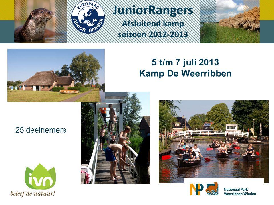 5 t/m 7 juli 2013 Kamp De Weerribben JuniorRangers Afsluitend kamp seizoen 2012-2013 25 deelnemers