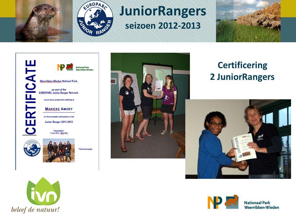 Certificering 2 JuniorRangers JuniorRangers seizoen 2012-2013