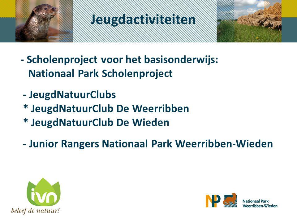 Nationaal Park Scholenproject 100 % bereik basisscholen gemeente Steenwijkerland Deelname ruim 2000 kinderen per jaar 5 verschillende educatieve programma's