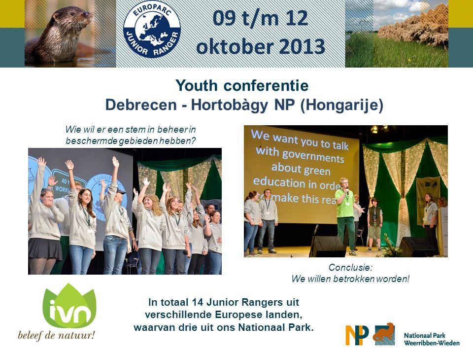 Youth conferentie Debrecen - Hortobàgy NP (Hongarije) 09 t/m 12 oktober 2013 Wie wil er een stem in beheer in beschermde gebieden hebben? Conclusie: W