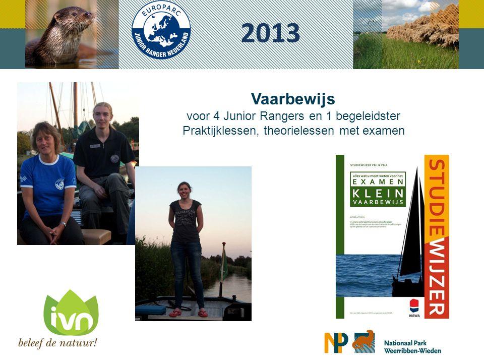 2013 Vaarbewijs voor 4 Junior Rangers en 1 begeleidster Praktijklessen, theorielessen met examen