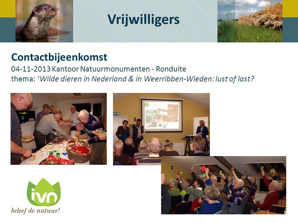 Contactbijeenkomst 04-11-2013 Kantoor Natuurmonumenten - Ronduite thema: 'Wilde dieren in Nederland & in Weerribben-Wieden: lust of last? Vrijwilliger