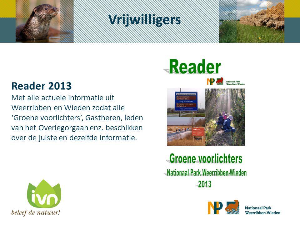 Reader 2013 Met alle actuele informatie uit Weerribben en Wieden zodat alle 'Groene voorlichters', Gastheren, leden van het Overlegorgaan enz. beschik