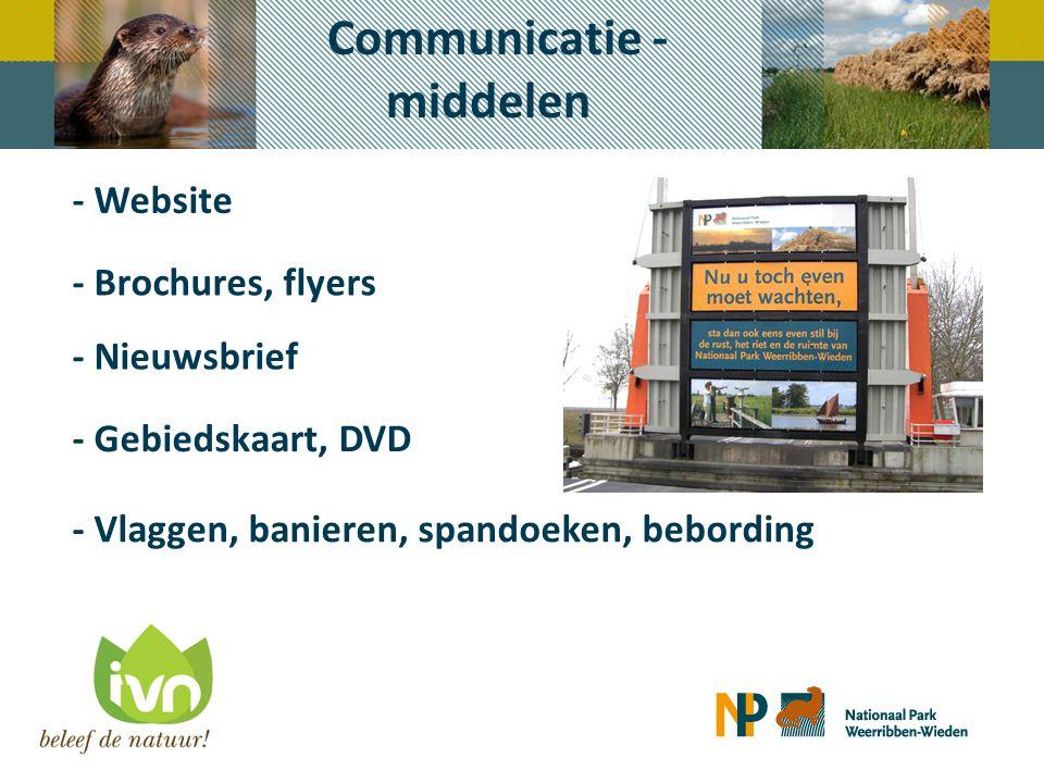 Communicatie - middelen - Website - Nieuwsbrief - Brochures, flyers - Gebiedskaart, DVD - Vlaggen, banieren, spandoeken, bebording