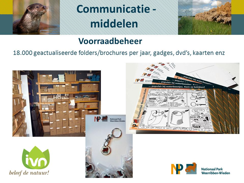 Voorraadbeheer Communicatie - middelen 18.000 geactualiseerde folders/brochures per jaar, gadges, dvd's, kaarten enz