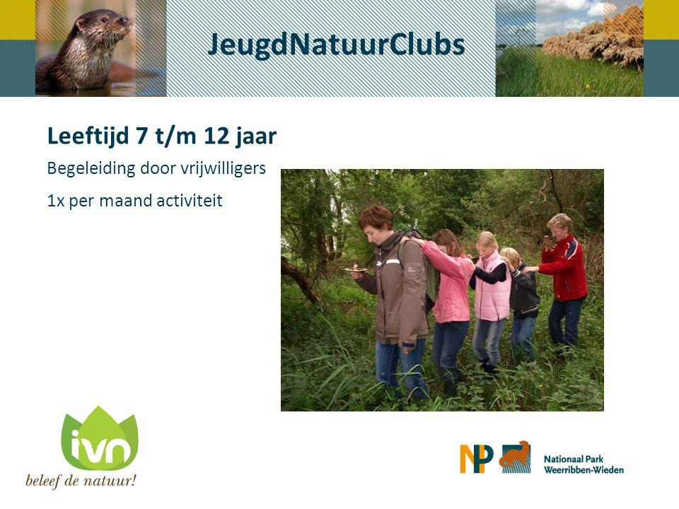 JeugdNatuurClubs Leeftijd 7 t/m 12 jaar Begeleiding door vrijwilligers 1x per maand activiteit